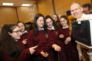 Fran Hegarty (Chief Health Technology Officer) & students from Mercy Secondary School, Inchicore